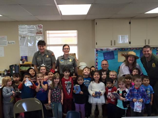 Park Rangers visit Head Start classroom in Johnson City (L to R - Dave Schafer, Kathleen Fry, Patrick Pelarski and Brian Perry).jpg